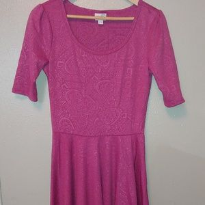 Lularoe Modest Swing Dress Nicole Textured Fuchsia